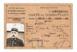 OFFICE NATIONAL Des Mutilés, Combattants Et Victimes De La Guerre - Carte Du Combattant (Comité De L'Aveyron) - Historical Documents