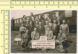REAL PHOTO 1937 Yugoslavia Train Factory Sl. Brod Stuff Engineers Railroad Railway ORIGINAL VINTAGE SNAPSHOT PHOTOGRAPH - Treni