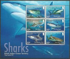 British Indian Ocean Territory (BIOT) 2016, Sharks, MNH Sheet - Britisches Territorium Im Indischen Ozean