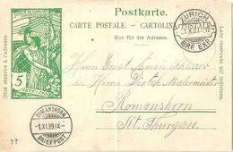 PK 31  UPU  Zürich - Romanshorn  (Rasierklingenstempel / Stempelfehler)         1900 - Entiers Postaux