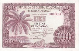 BILLETE DE GUINEA ECUATORIAL DE 100 PESETAS DEL AÑO 1969 EN CALIDAD EBC (XF)  (BANKNOTE) - Guinée Equatoriale