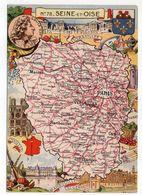 SEINE ET OISE -- Illustrateur R . Pinchon--carte Géographique Illustrée Du Département De Seine Et Oise......à Saisir - Maps