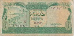 BILLETE DE LIBIA DE 1/2 DINAR DEL AÑO 1981 (BANKNOTE) - Libyen