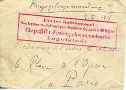 FRAGMENT De Lettre De Prisonnier De Guerre Pour Paris 1915 Cachet Ecrire Lisiblement Des Lettres Ne Doivent Pas ... - Marcophilie (Lettres)