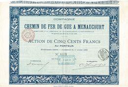 Titre Ancien - Compagnie Du Chemin De Fer De Guë à Menaucourt - Titre De 1893 - Rare - Chemin De Fer & Tramway
