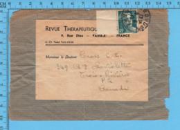 France Manchon De Journeau - Revue Thérapeutique Timbre Marianne Avec Bordure Postrmark 1947 Send To Trois-Rivieres P.Q. - Francia