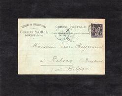 1896 - Cachet Convoyeur Grenoble à ??? Sur YT 89 - DOMENE (Isère) - Ateliers De Constructions  Charles MOREL - 1877-1920: Periodo Semi Moderno