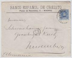 Spanien Brief Der Banco Espanol Madrid An Die Fa.Schwanhäuser Nürnberg Mit EF - 1931-Tegenwoordig: 2de Rep. - ...Juan Carlos I