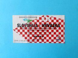 SLOVENIA V CROATIA - 1996 UEFA EURO Qualif. Football Match Ticket * Soccer Fussball Calcio Foot Futbol Futebol - Tickets D'entrée