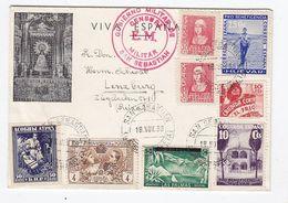 Spanien 1938 Brief Mit Seltener Frankatur In Die Schweiz Und Zensur - Franquicia Militar