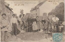 CPA  56   Environs De Sarzeau  Battage Du Ble Au Logeo - Sarzeau