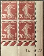 R1306/24 - 1923 - TYPE SEMEUSE FOND PLEIN - BLOC N°139 NEUF** CdF Daté 14.4.23 - Coins Datés
