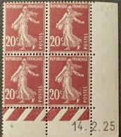 R1306/25 - 1925 - TYPE SEMEUSE FOND PLEIN - BLOC N°139 NEUF** CdF Daté 14.2.25 - Coins Datés