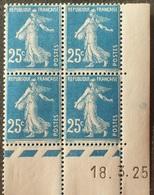 R1306/26 - 1925 - TYPE SEMEUSE FOND PLEIN - BLOC N°140 NEUF** CdF Daté 18.3.25 - Ecken (Datum)