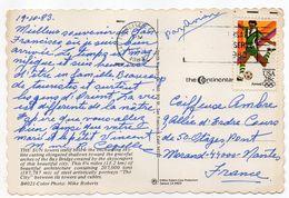 USA--1983--tp Football  Olympics 84 Sur Carte Postale  San Francisco--Oakland Bay Bridge - Cartas