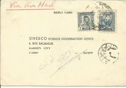 IRAQ  1955 OFFICIAL REPLY CARD TO EGYPT - Iraq