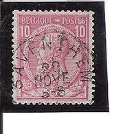N° 46 . OBL. Saventhem Défaut Entre Le T Et Le E Dans Poste (plaatfout) LOT H105 - 1884-1891 Léopold II