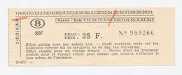 Treinbiljet Belgische Spoorwegen - Chemins De Fer