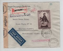 REF6/ TP 592A Secours D'Hiver Surtaxe S/L.Recommandée Avion C.Mechelen 5/5/42 Censure 'c' > Böhmen & Mahren - WW II