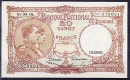 BELGIQUE MORIN N° 28, 01.09.1948 UNC Mais Infimes Froissures Coin Supérieur,  (BB6B) - [ 6] Schatzamt