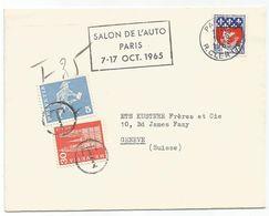 N°1354B SEUL LETTRE PARIS 10.9.1965 POUR SUISSE TAXE 30C+5C - 1941-66 Armoiries Et Blasons