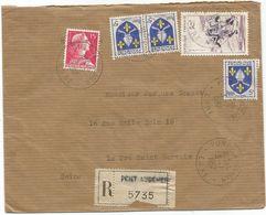 BLASON 5FR SAINTONGEX3+15FR MULLER +50FR RUGBY LETTRE REC PONT AUDEMEUR EURE 3.7.1957 - 1941-66 Armoiries Et Blasons