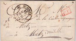 LAC De Saint-Omer (62) Pour Metz (55) - 15 Mai 1835 - CAD Rond Type 12 - Cachet P.P. Rouge Port Payé - 1801-1848: Precursori XIX