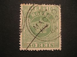 50 Reis 1884 MACAU Yvert 6 Cancel (Perf 13 1/2 Cat Year 2008: 100 Eur) Mark Sign On Back Stamp Macao Portugal China Area - Macao