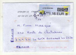 Enveloppe FRANCE Avec Vignette D' Affranchissement Lettre Prioritaire Oblitération LA POSTE 37845A-02 02/06/2020 - 2000 «Avions En Papier»