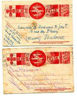 2 Entier De 1941 Pour La FRANCE Paypal Not Accept - Entiers Postaux
