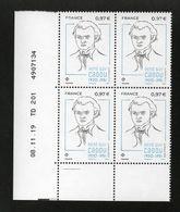 TP René Guy CADOU 1920 - 1951 - COIN DATE DE 4 - 08/11/2019 - NEUF - NON PLIE - Ecken (Datum)