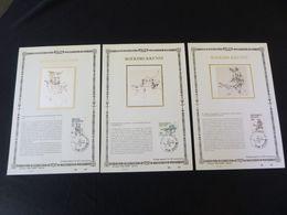"""BELG.1988 2309 2310 2311 : """"BOEKDRUKKUNST """" NL.versie ,Luxe Kunstbladen Zijde , 97/200 Exemplaren Limiet - FDC"""
