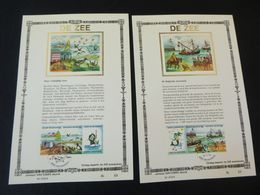 """BELG.1988 2273 2274 2275 2276 : """" DE ZEE """" NL.versie ,Luxe Kunstbladen Zijde , 33/200 Exemplaren Limiet - 1981-90"""