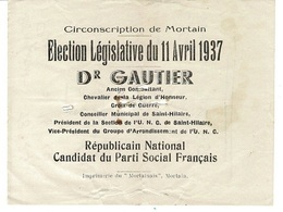 MORTAIN, élection Législative Du 11 Avril 1937, DR Gautier - 1900 – 1949