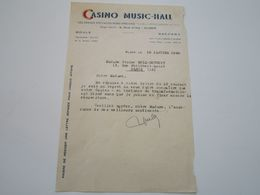"""CASINO MUSIC-HALL - 9, Rue D'Isly - """"Les Grands Spectacles Nord-Africains"""" - Courrier Adressé à L'Orchestre RUIZ-DUTHUIT - Alger"""
