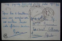 Casablanca 1929 Dépôt Des Isolés Métropolitains (Maroc) Carte Pour Collioure - Military Postmarks From 1900 (out Of Wars Periods)