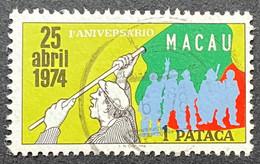 MAC5439U - 1st. Anniversary Of The 25th Of  April 1974 1 Pataca Used Stamp - Macau 1975 - Macao