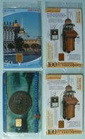 RUSSIA / USSR - Chip - ST PETERSBURG - Leningrad - Group Of 4 - 100th Anniv Telephones, Map, 300th Anniv - Mint Blister - Russie