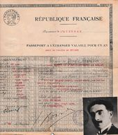 1925 MILLAU - PASSEPORT A L'ETRANGER Pour Se Rendre En SUISSE - Valable Un An - - Documents Historiques