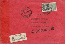 V-G.SEGANTINI 110L.-ISOLATO SU RACCOMANDATA CAGLI(PESARO)X ROMA 1958 - 1946-60: Storia Postale