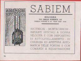 SABIEM. Ascensori Montacarichi. Pubblicità 1939 - Publicités