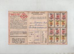 Compagnie Omnibus Tramways Lyon Vénissieux Abonnement Annuel 1954 - Biglietti Di Trasporto