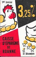 Calendrier De 1958 Caisse D'Epargne De ROANNE - Caisse Centrale 33, Rue Brison Tél 25.30 - Calendars