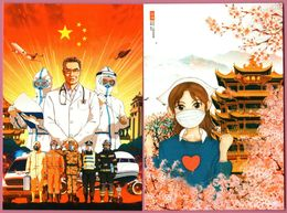 China ANTI COVID-19 Postcards, Set Of 2, MNH VF (Stay Strong, WUHAN) - Maladies