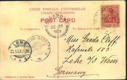 """1907, AK """"Landing Penang"""" Mit """"DEUTSCHE SEEPOST OST-ASIATISCHE LINIE"""" Via Singapore Nach Lehe/Weser - Lettres"""