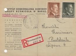 GG: MiF Einschreiben Postkarte Warschau Nach Pustelnik, Portogerecht - Besetzungen 1938-45