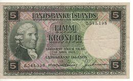 ICELAND  5 Kronur   P32a   ( L.  15.4.1928 ) - Island