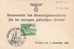 GG: Gedenkarte G1, Langes F, Zusatzstempel Skawina 12.12.39 - Besetzungen 1938-45
