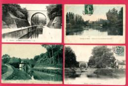 LOT DE 4 CPA (Ref : AA 675) MEAUX (77 SEINE-et-MARNE) Pont Du Canal - Meaux