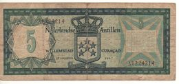 NETHERLANDS ANTILLES   5 Gulden   P8a   1967 - Antilles Néerlandaises (...-1986)
